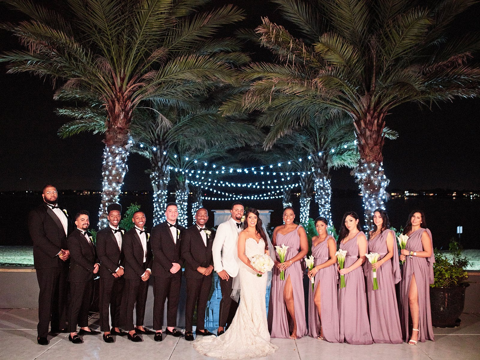 wedding party - rose bridesmaids dresses - nighttime