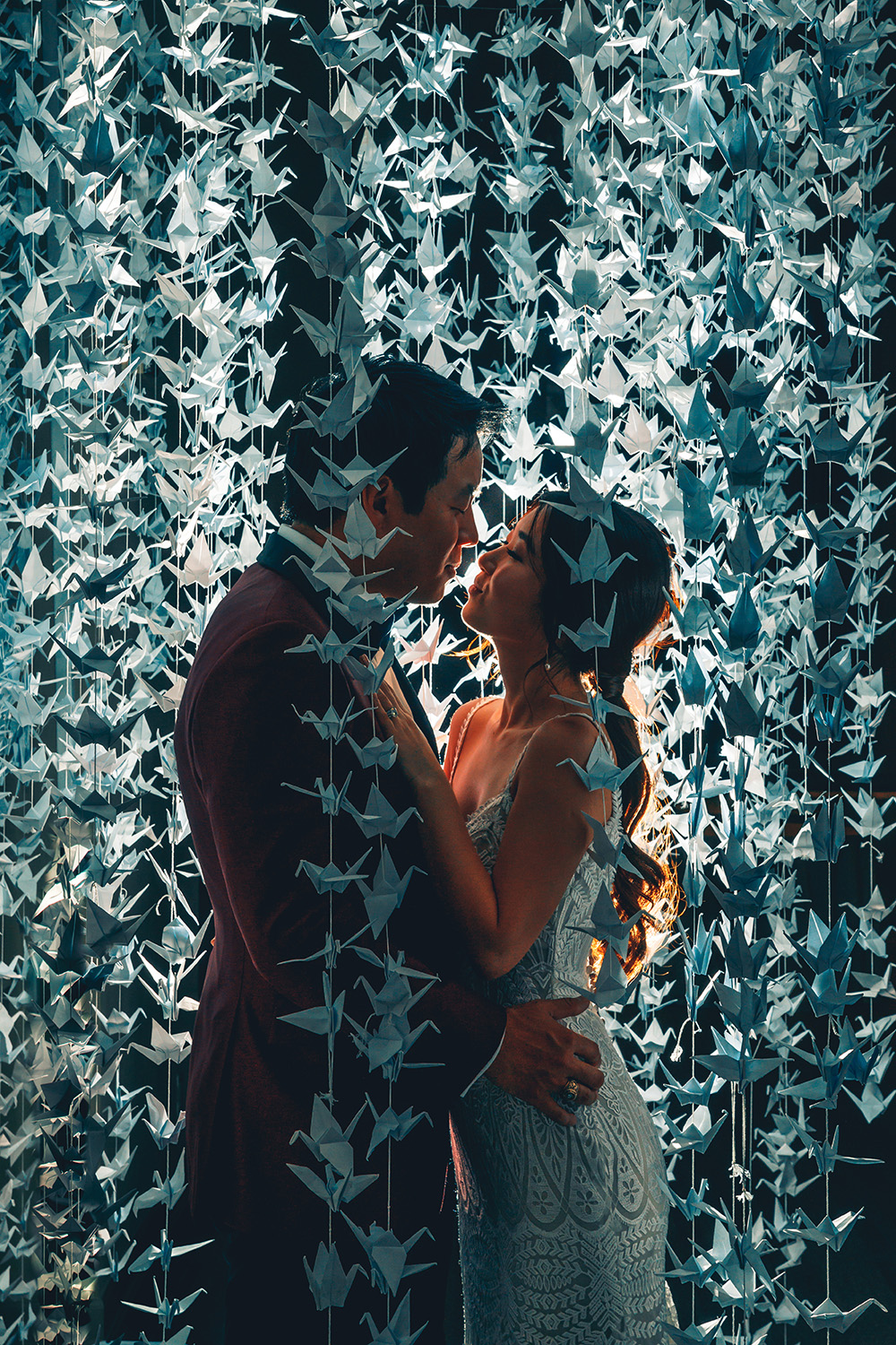 corinthian, houston, cranes, paper, unique, photography, romantic, reception