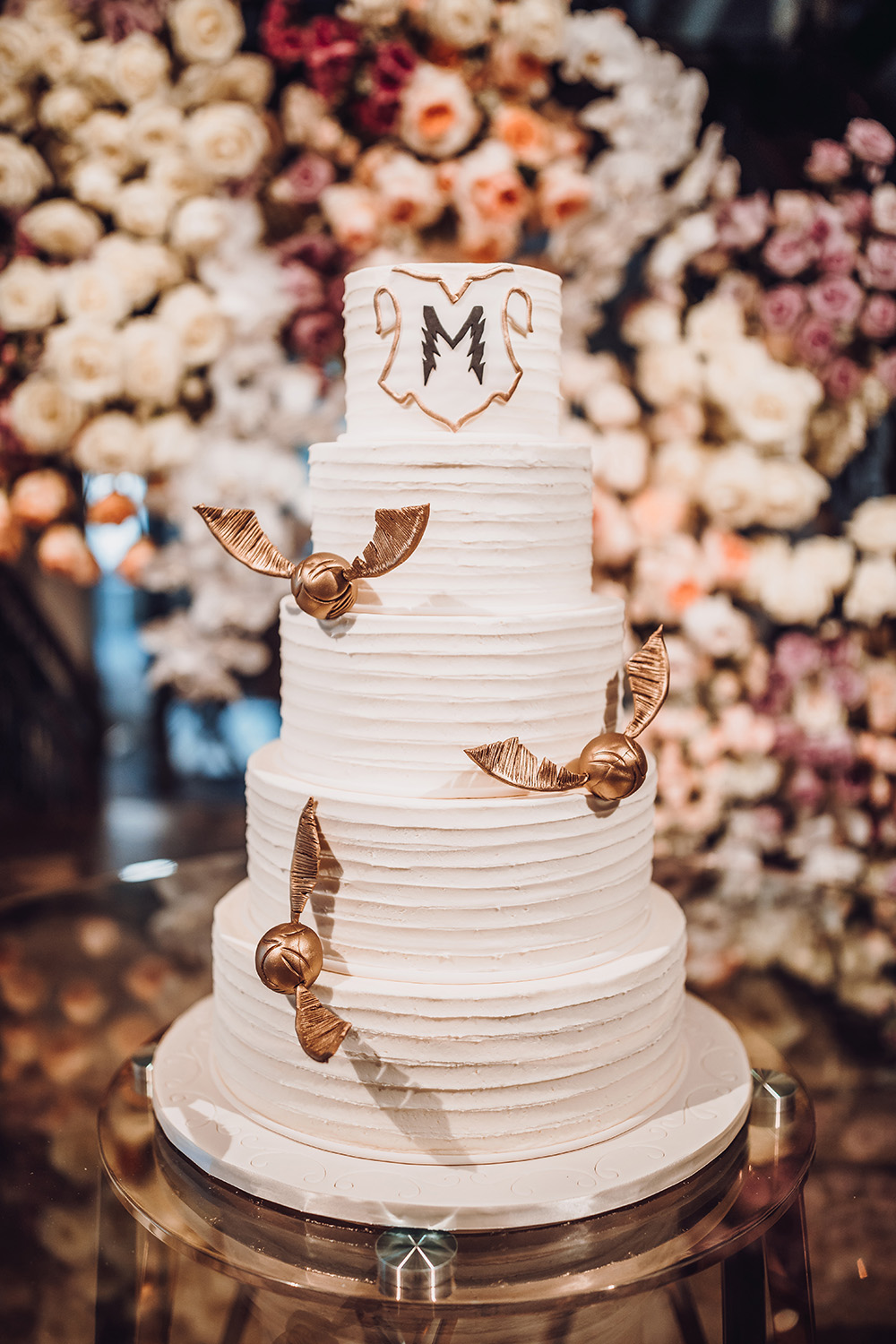 cakes by gina, custom, unique, photography, romantic, reception, snitch, harry potter