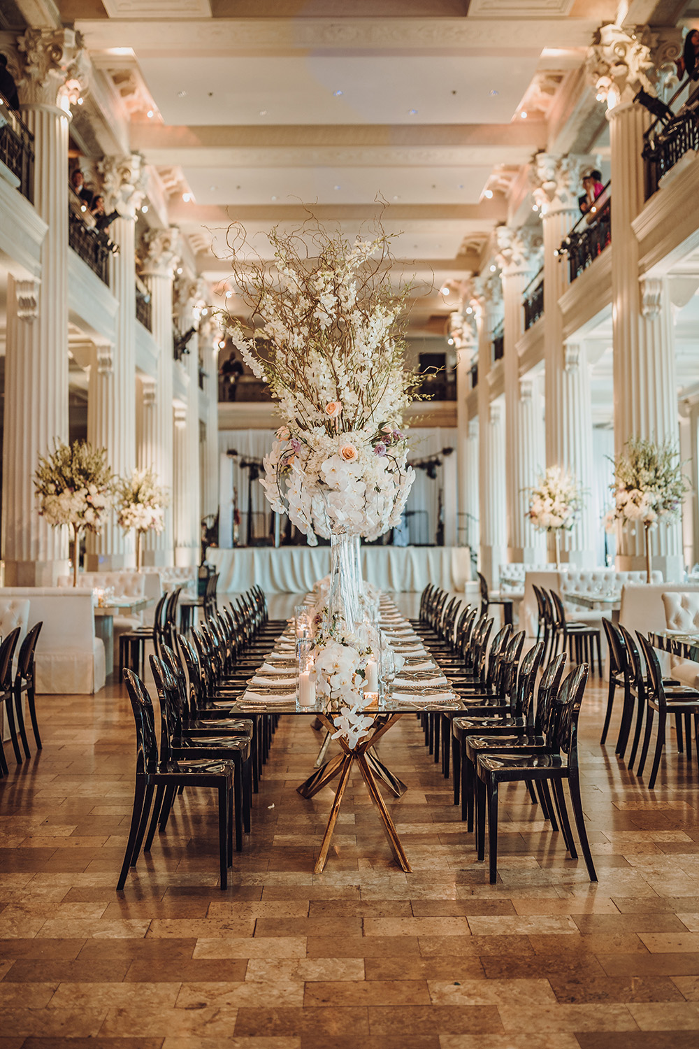 corinthian, houston, cranes, paper, unique, decor, romantic, reception, flowers, plants