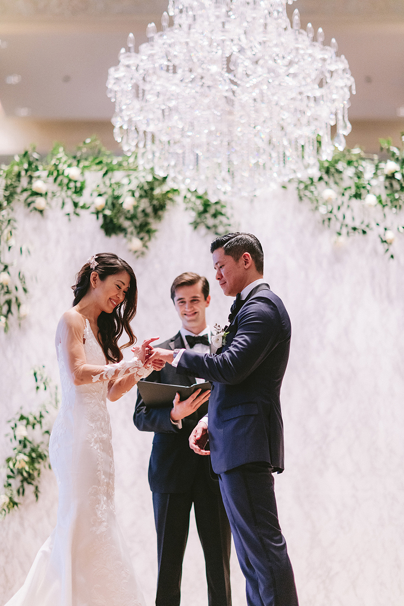 marble wedding - chandeliers - venue in houston