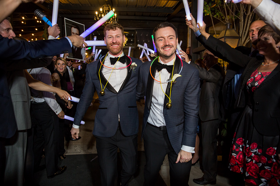 houston, LGBT, gay couple, city wedding, modern, chic, Hughes Manor, navy, brass, two grooms