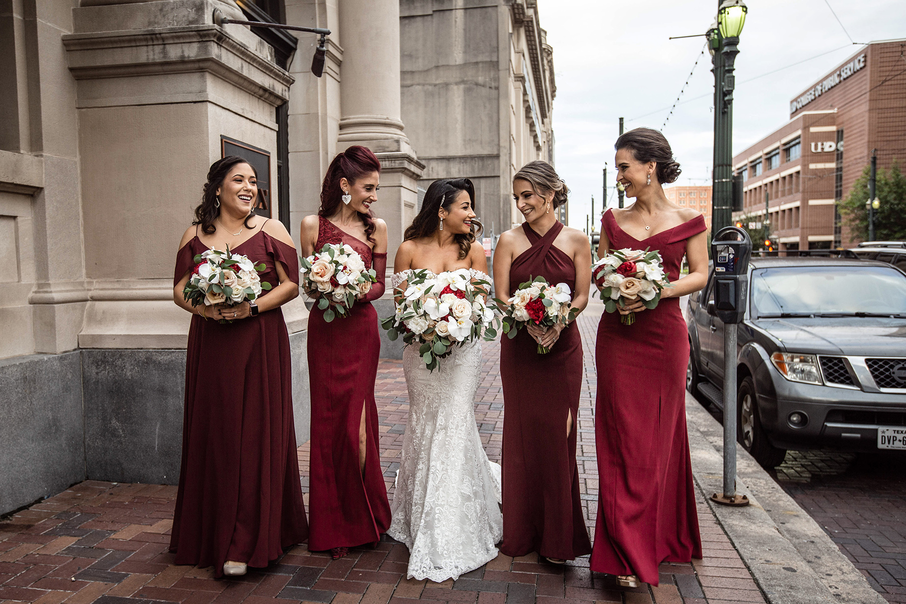 red bridesmaids off the shoulder dresses