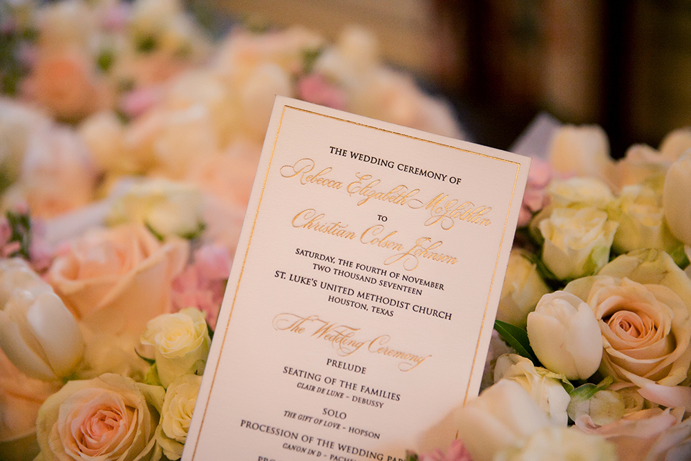 gold white wedding invitations on yellow, blush roses