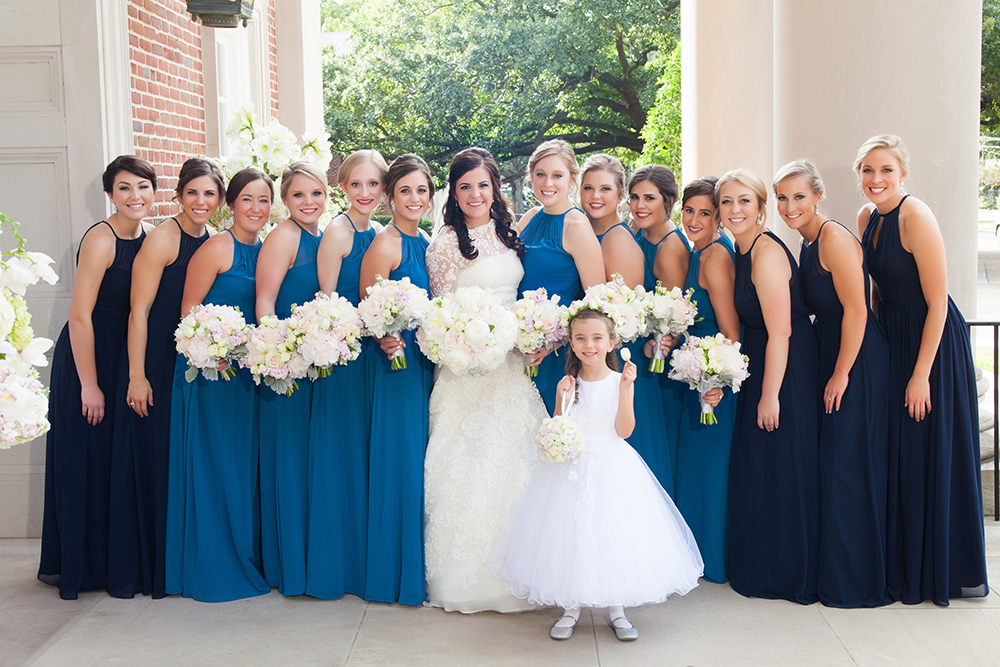blue and navy bridesmaids dresses