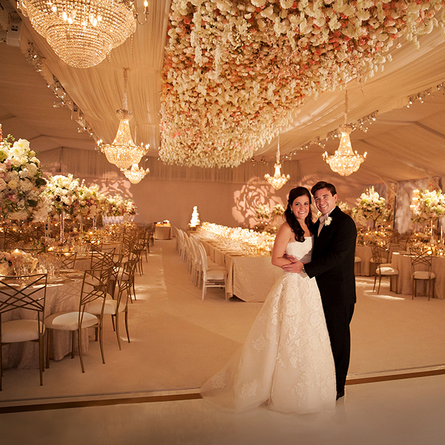 houston wedding reception with beautiful floral ceiling treatment