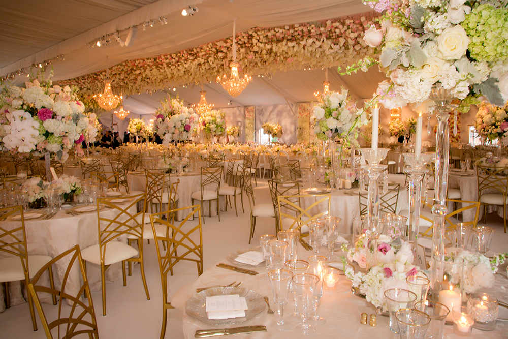 gorgeous gold and blush wedding reception decor