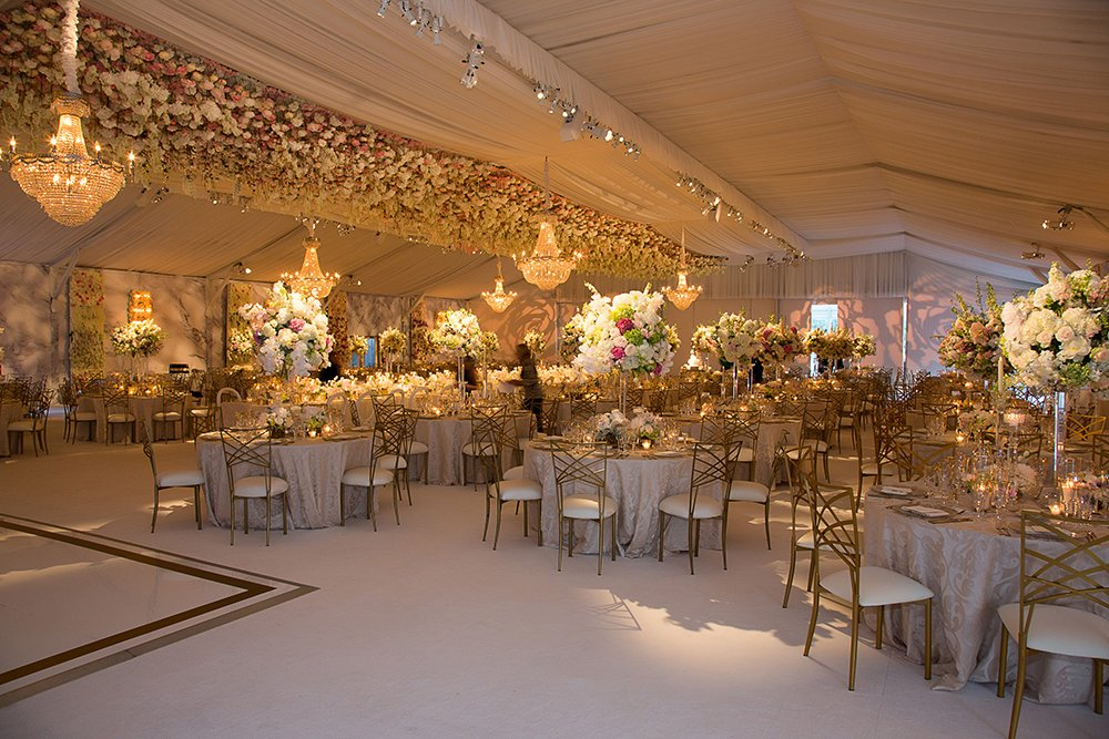 gold, white and blush flowers at houston wedding
