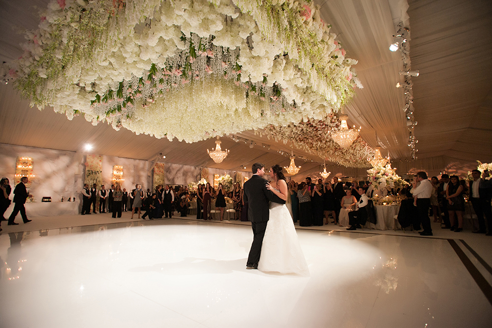 floral treatment above the dance floor for wedding reception
