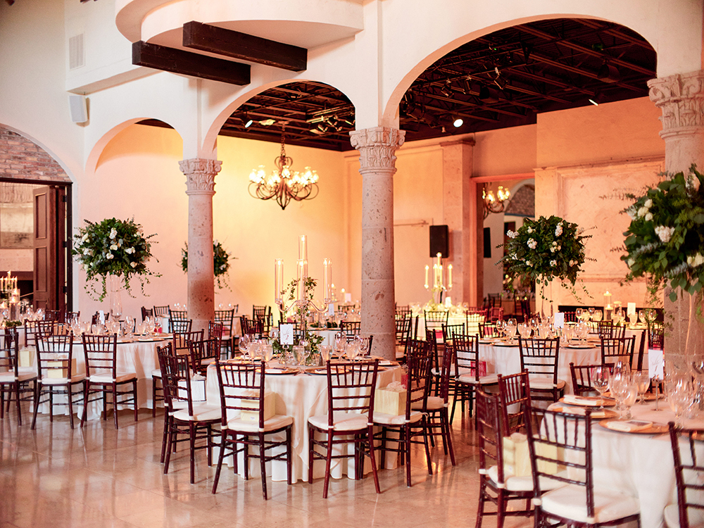 table layout and reception flowers and decor