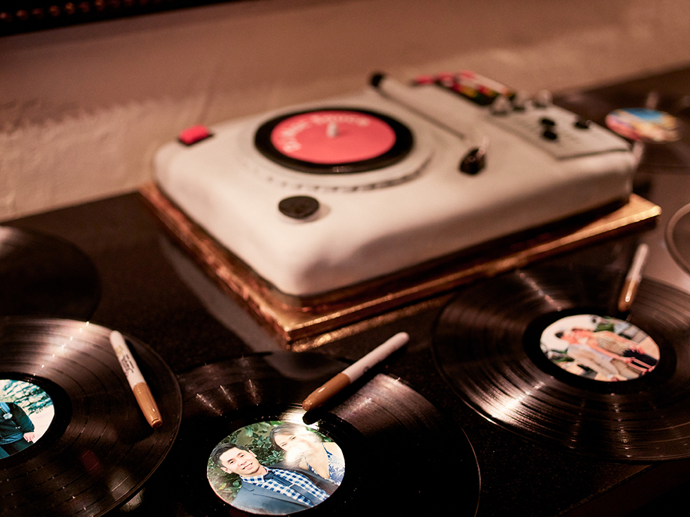 dj custom cake with records - grooms cake