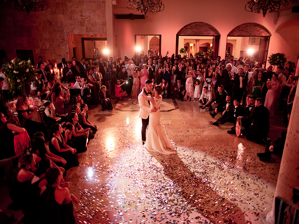 the first dance for newlywed couple at houston wedding venue