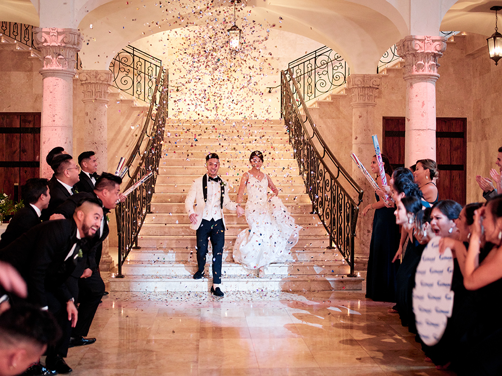 grand entrance to wedding reception ballroom