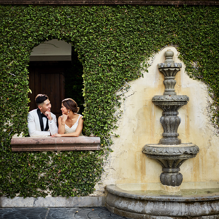Wedding photographer - ivy wall with fountain - rizza and josh - inspiration for wedding