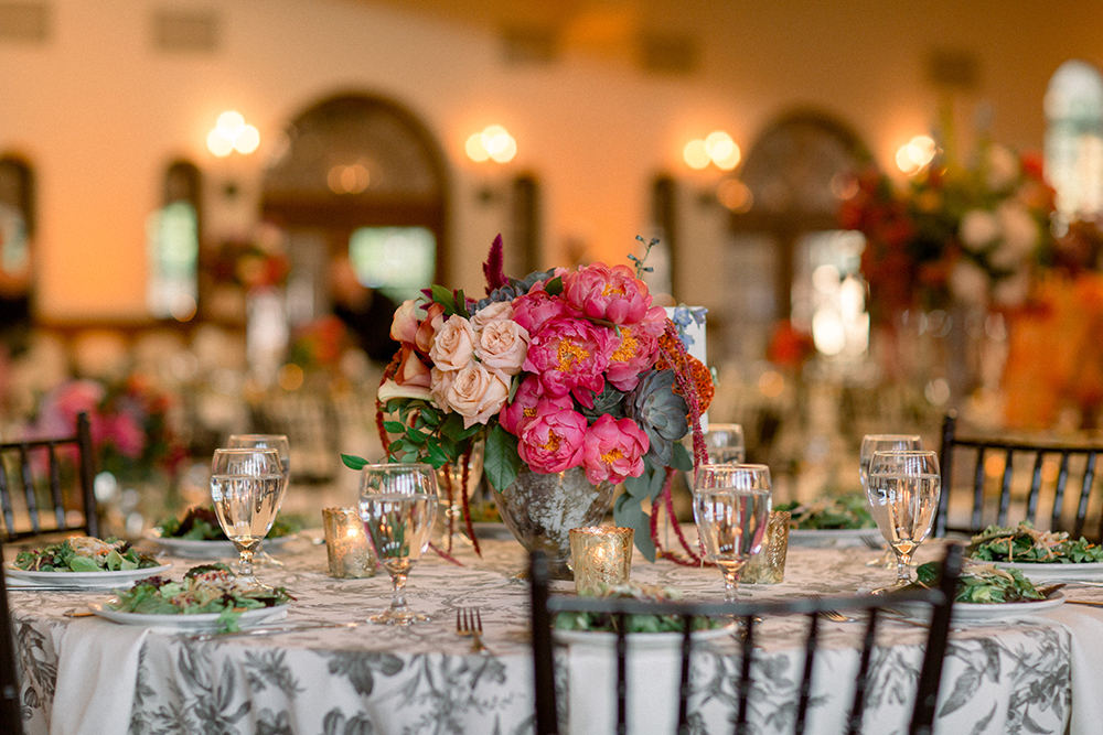 pink and coral centerpieces
