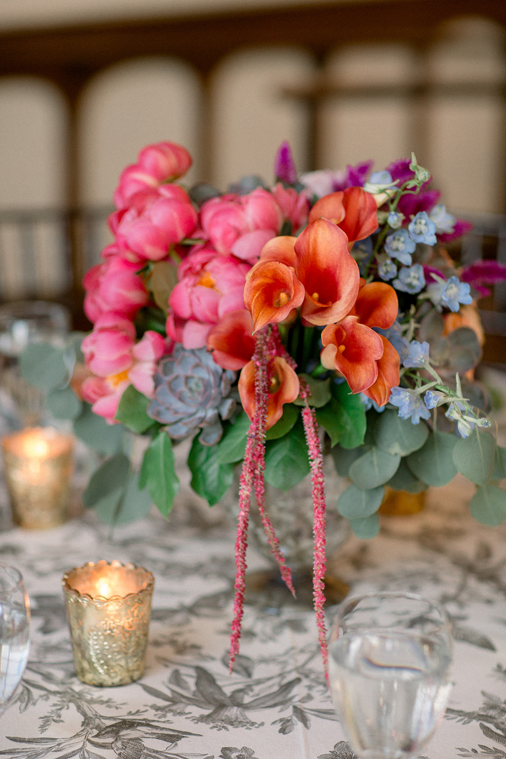blue orange pink reception decor and flowers