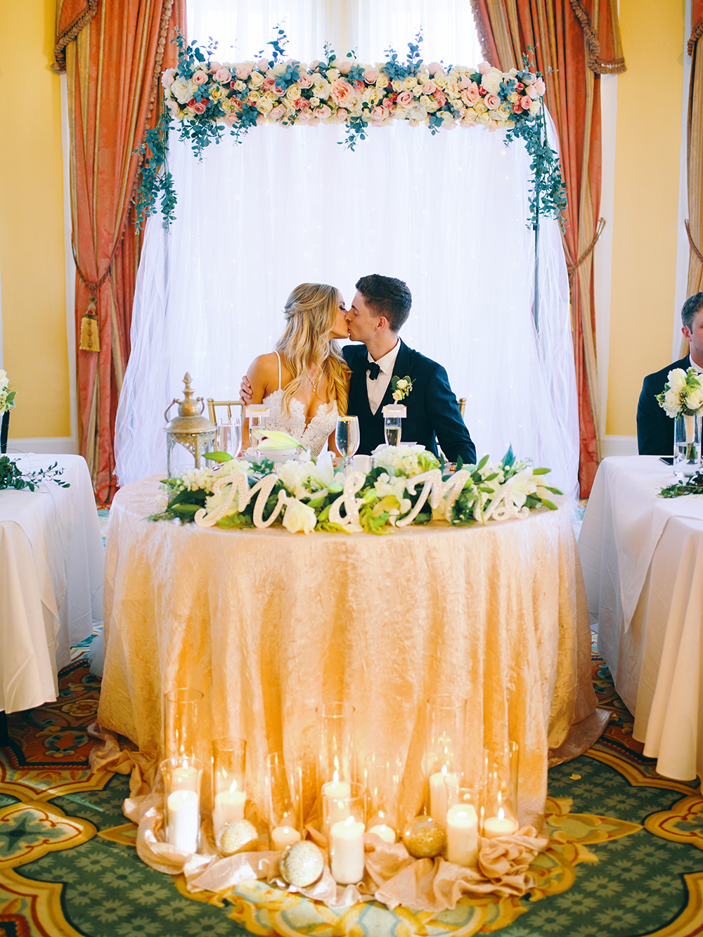 his & her table - wedding photography - white roses - greenery