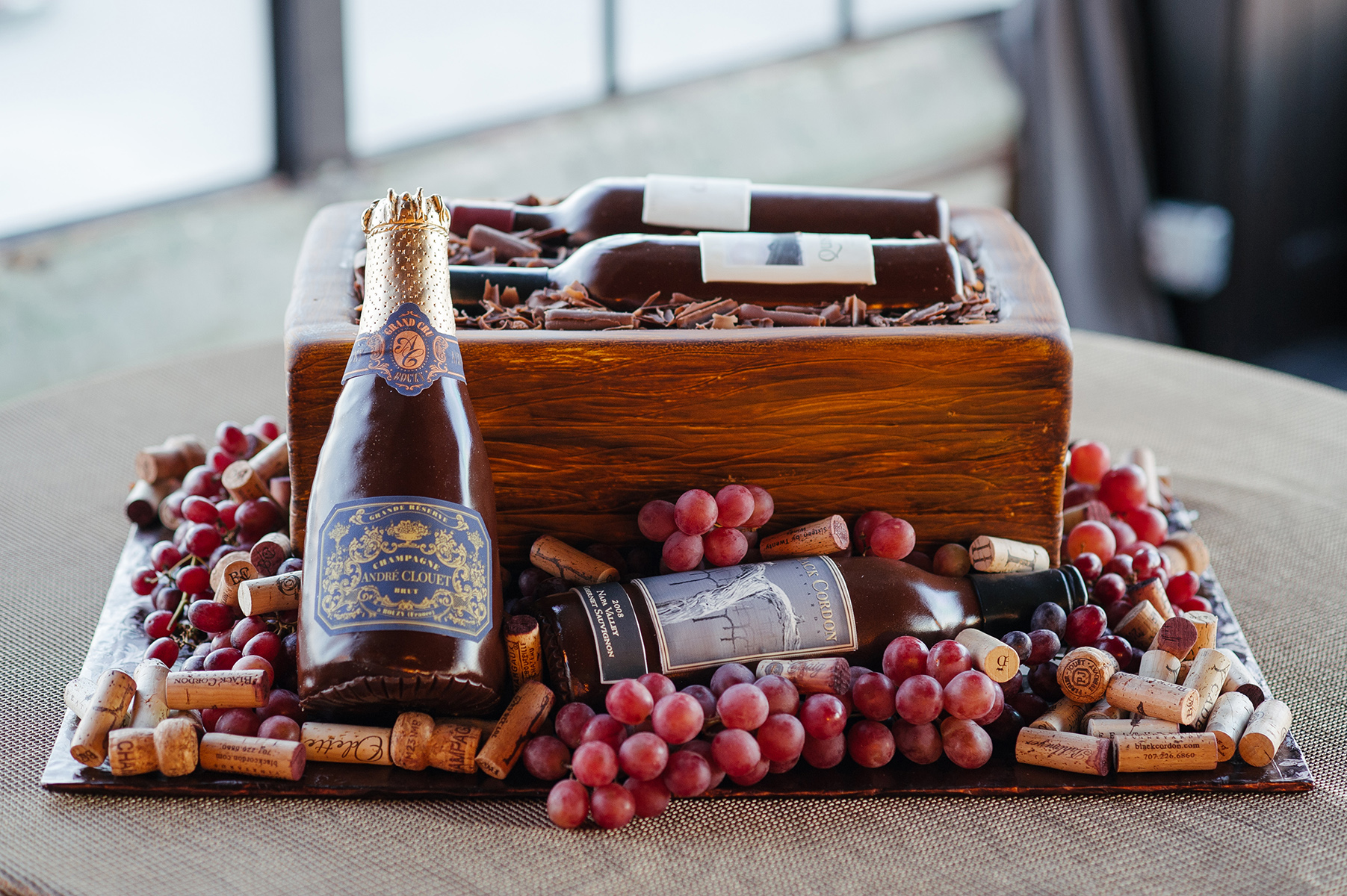 wedding reception at the astorian - wine barrel - grooms cake