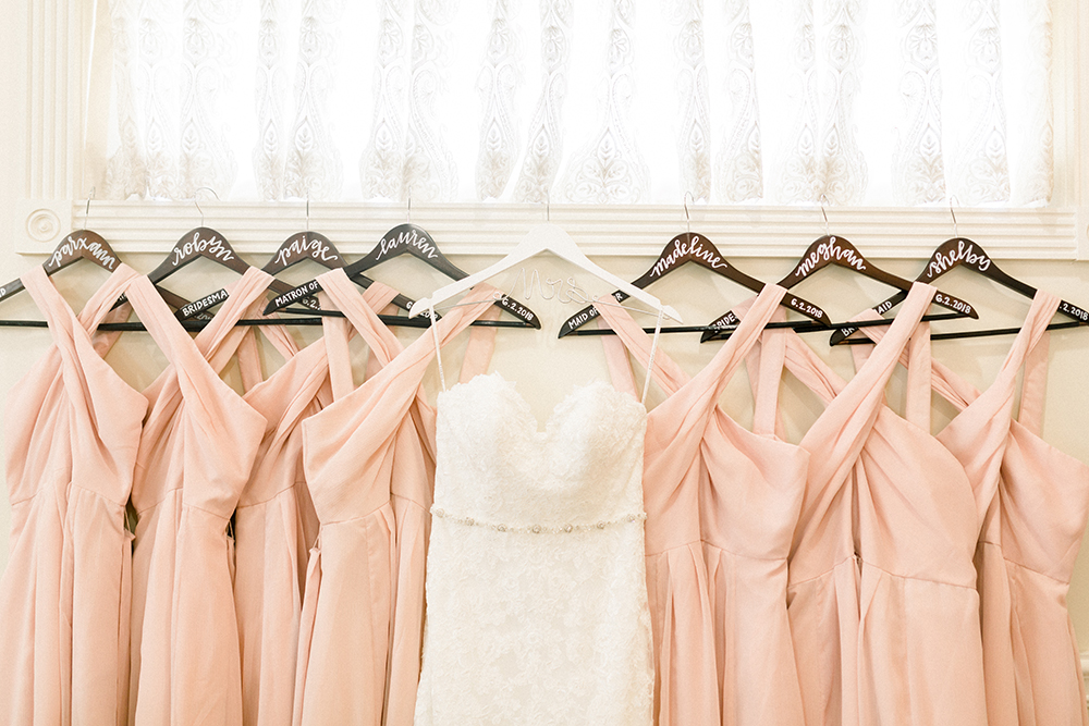 bride and bridesmaids dresses - pre wedding details photography