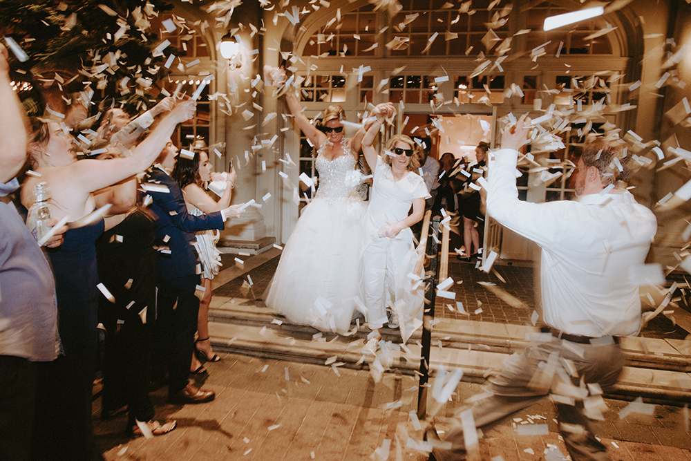 getaway, confetti, exit, wedding, couple, bride, lgbt, celebration, hotel galvez