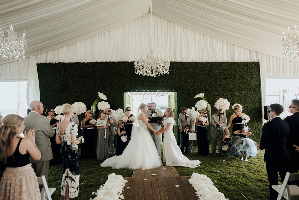 ceremony, tent, tent wedding, galveston, shawn, darla, houston, isle, i do, nuptials, lgbt