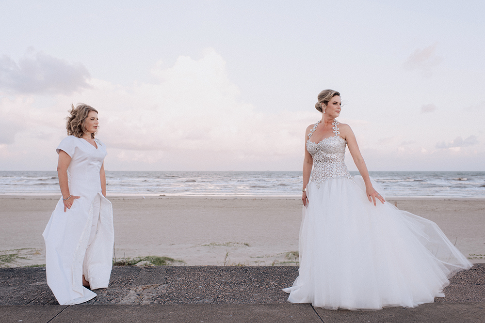 gay, lesbian, galveston, couple, wedding, photography, dress, gown, lgbt, houston, sunset, beach