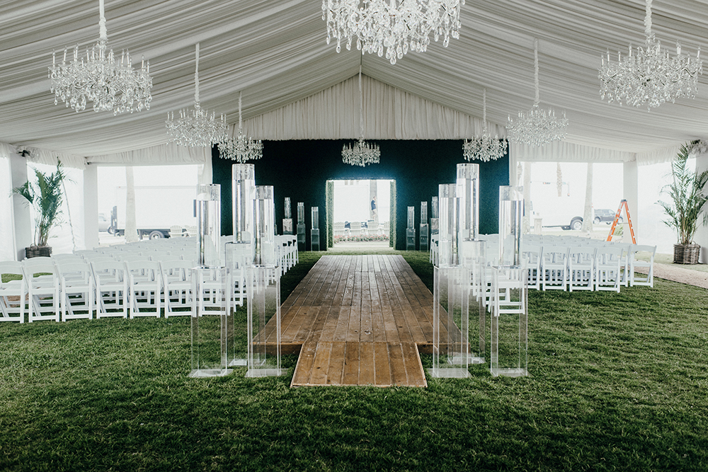 ceremony, decor, green, ivory, tent, wedding