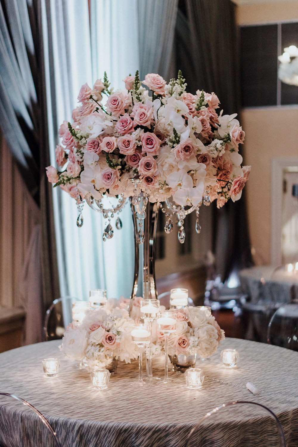flowers, centerpiece, table setting, bouquet, pink, reception, decor, hotel galvez