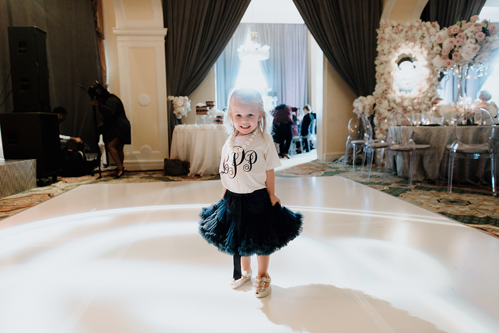 dance floor, flower girl, reception, sentimental, hotel galvez wedding
