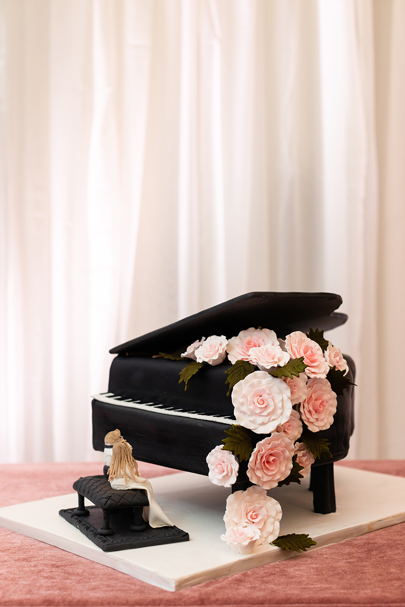 wedding cake - grooms cake - piano
