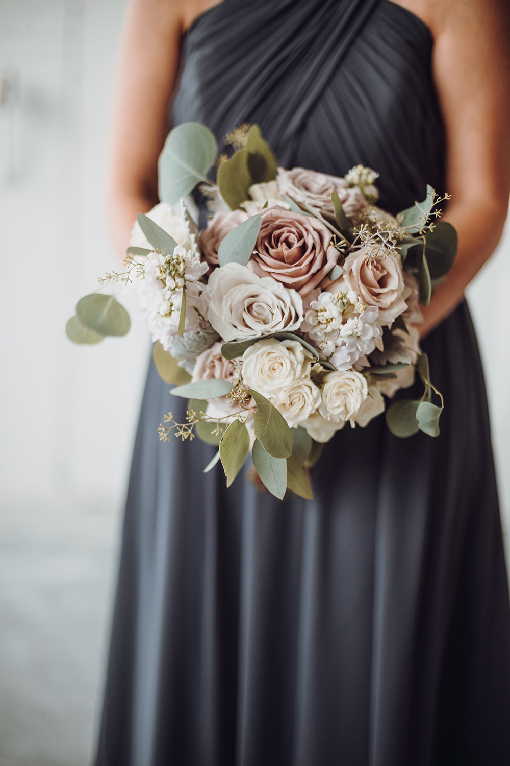 bridesmaid bouquet - blush and ivory