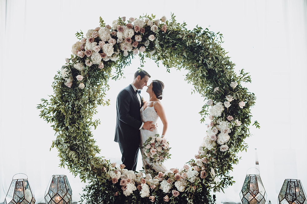 floral hoop with blush and ivory flowers