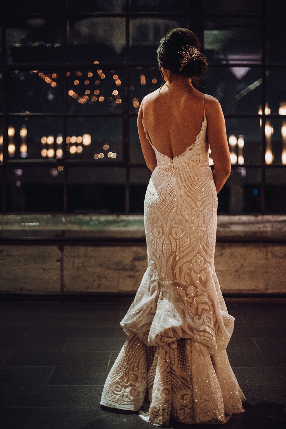 wedding gown details, intricate back