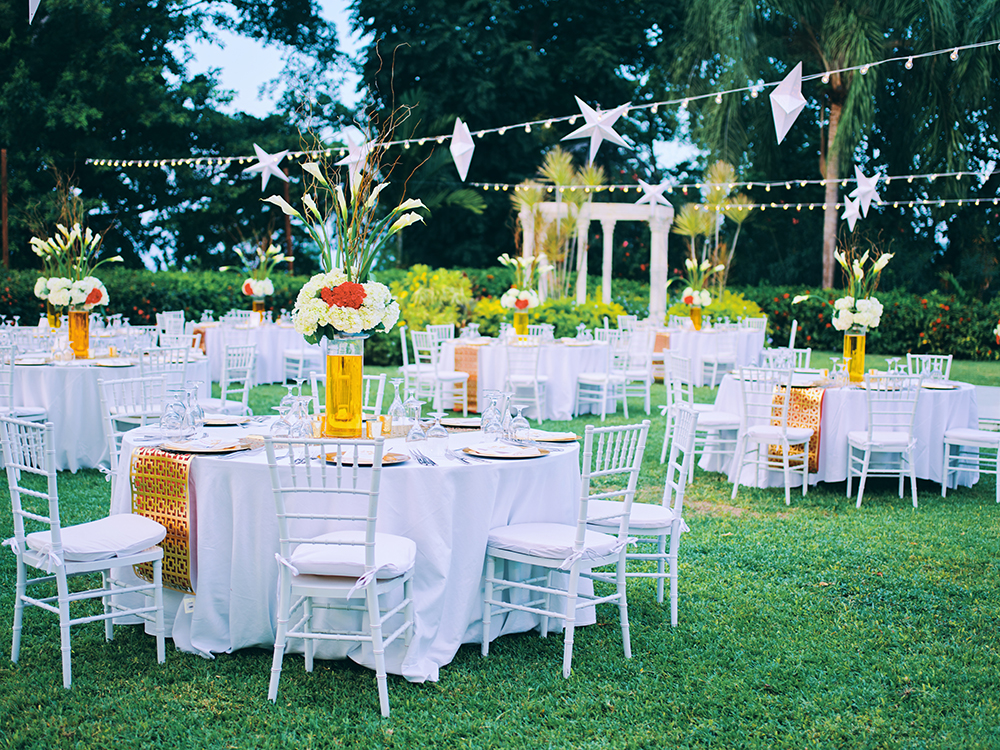 wedding reception decor - outdoors - red - gold - white