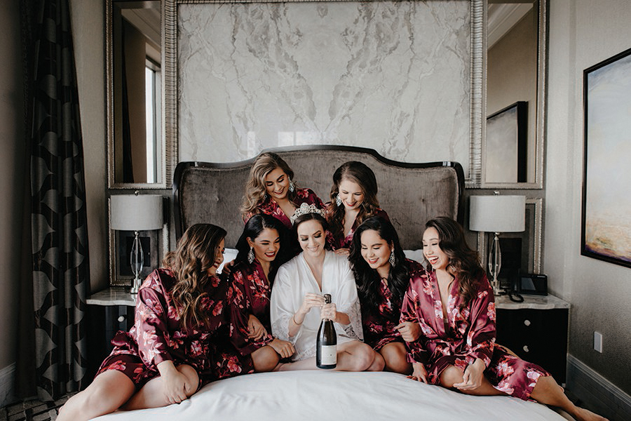 post oak, the post oak hotel, suite, corinthian, elegant, wedding, houston, sparklers, cakes, robes