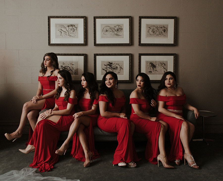 bridesmaids, dresses, red, corinthian, elegant, wedding, houston, sparklers, cakes, luxury