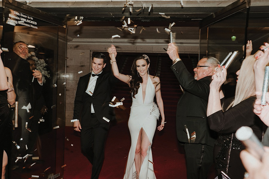 sparklers, confetti, exit, reception dress, houston wedding