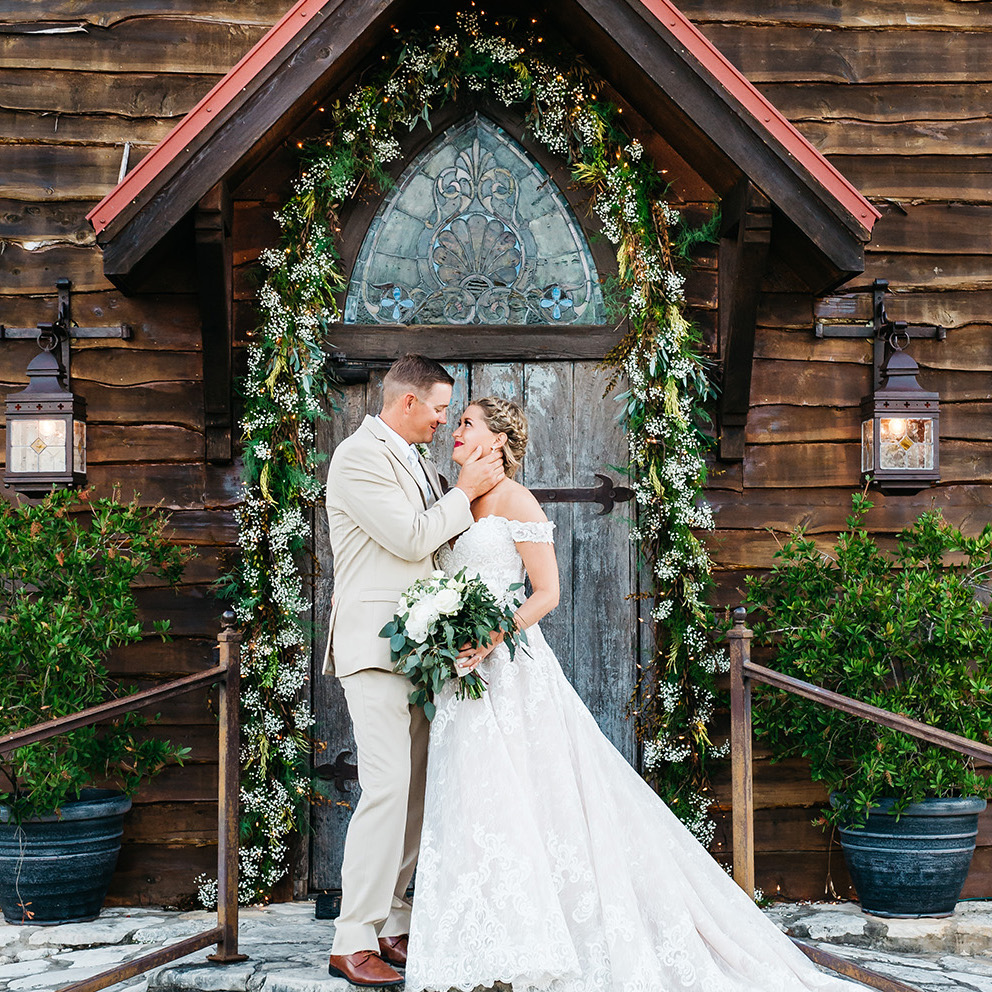 Virginia + Brandon - Beautiful Blue, Cream and Rose-Gold Hill Country Wedding at Old Glory Ranch