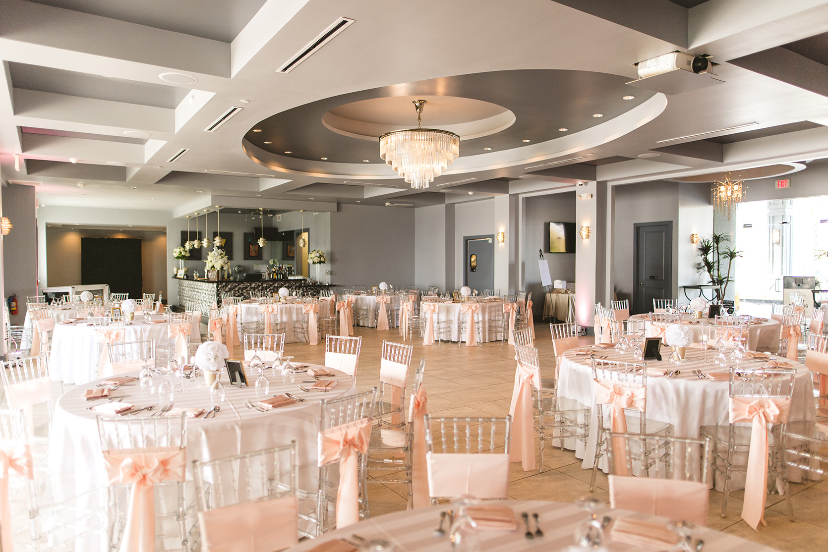 houston wedding, waters edge, wedding reception decor, blush, gold