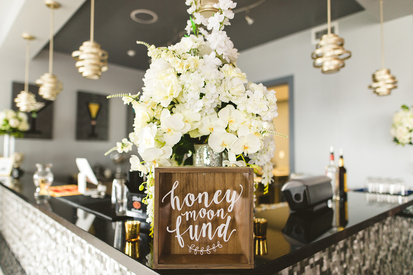 houston wedding, bar decor, honeymoon fund, signs