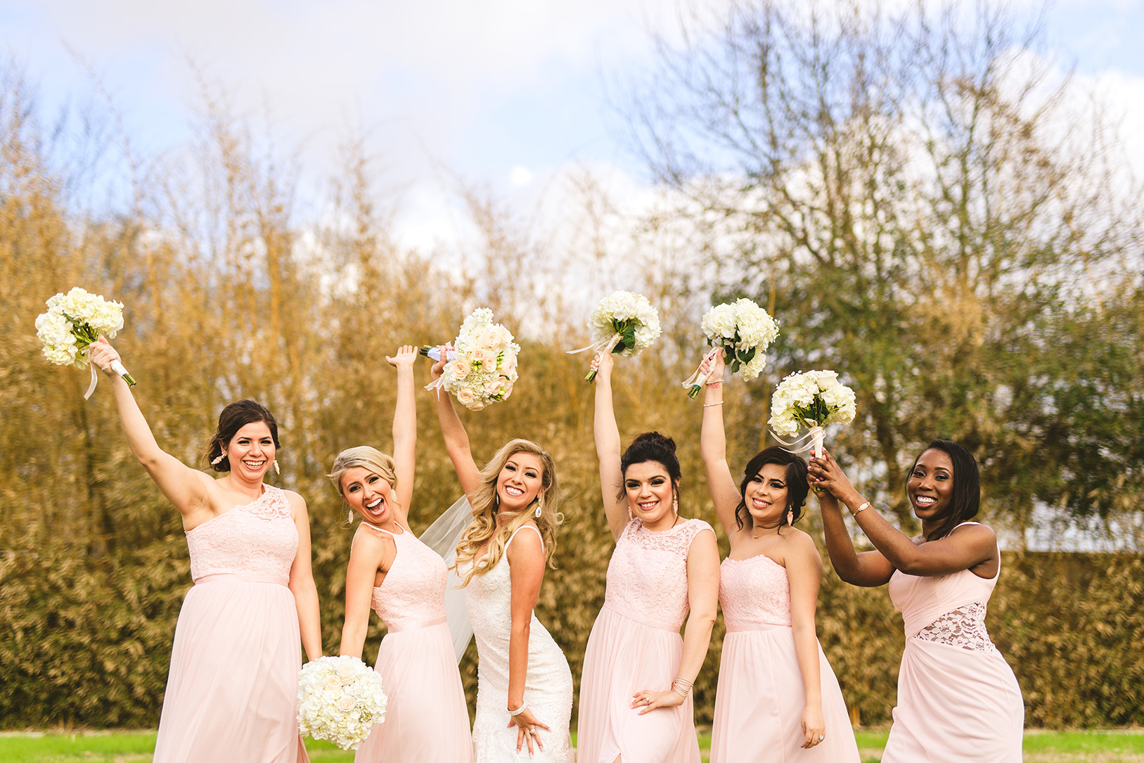 houston wedding, bridal party, bridesmaids, pink dresses