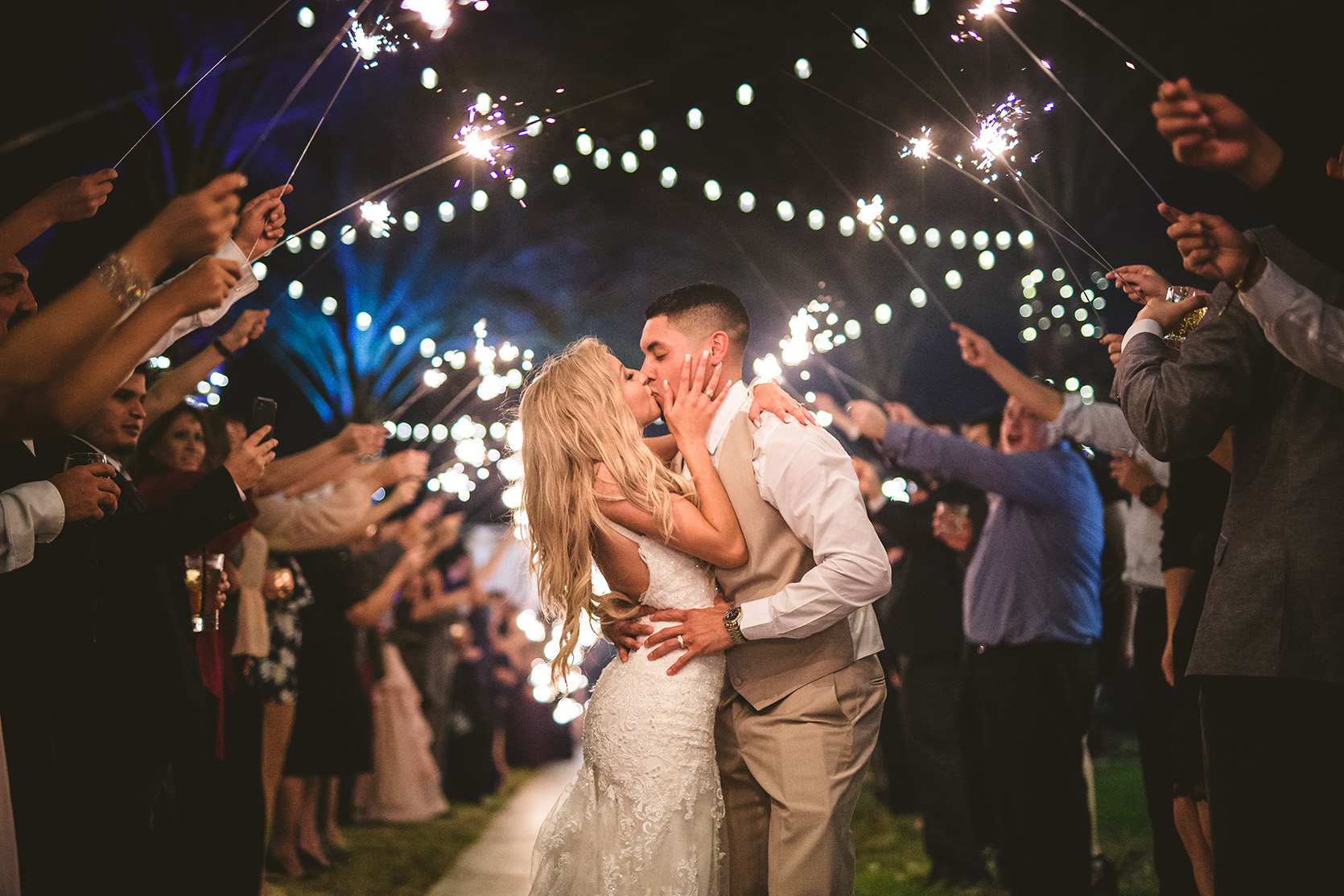 houston wedding, couple exit, sparklers, string lights