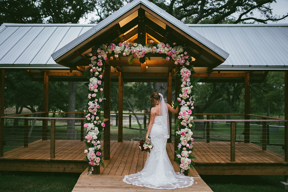 hill country wedding venue - floral arch - gazebo