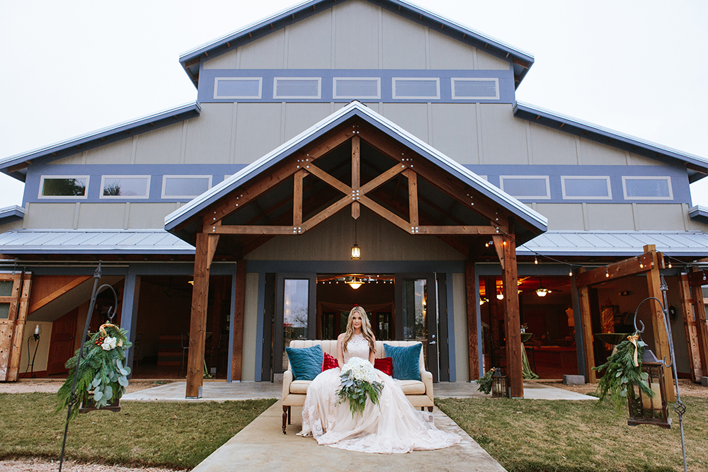 barn with chandelier - two story wedding venue