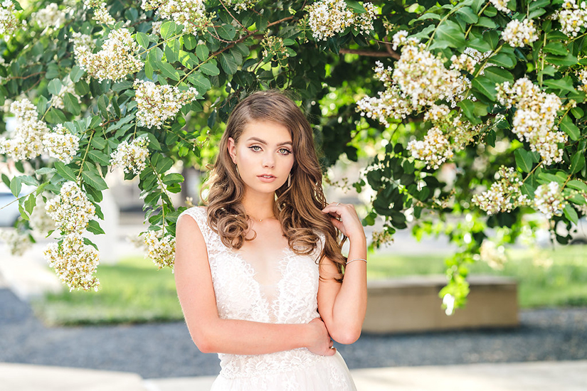 wedding photography of bride outside