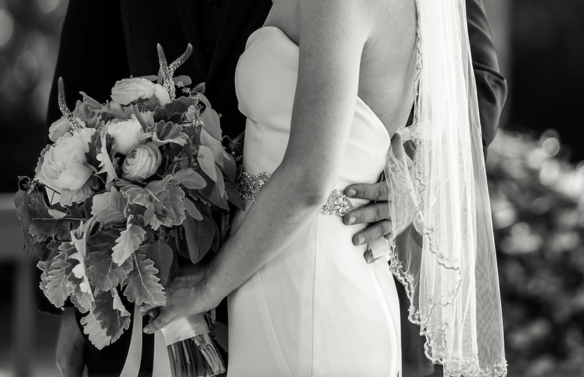 black and white photography of bride and groom