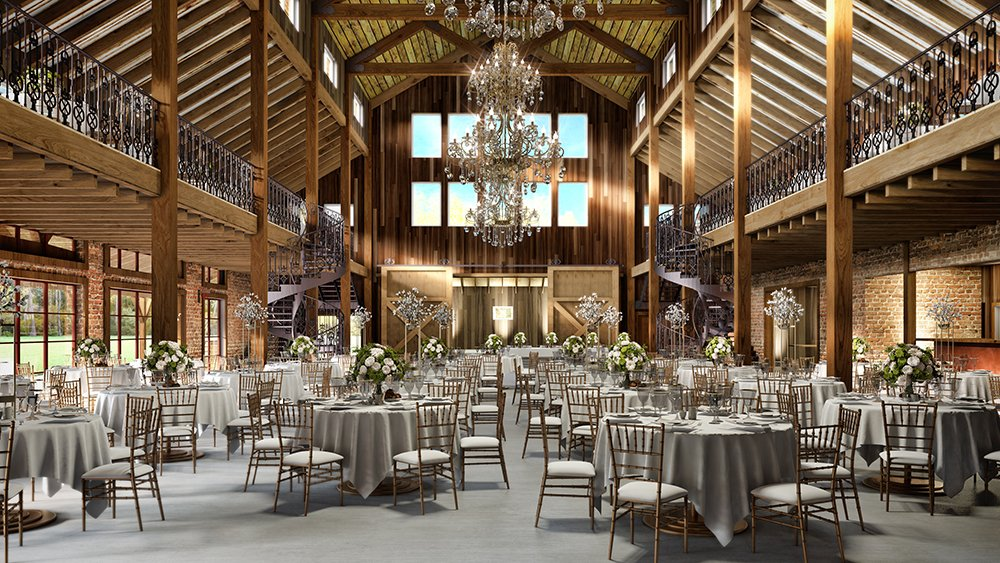 Wedding Reception Rustic Chic - Chandeliers